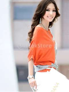 Women Boat Neck Dolman Sleeve Blouse Splice T shirt Top