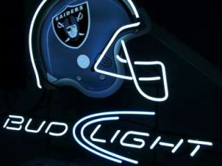 Bud Light Beer Oakland Raiders Logo NFL Football Helmet Neon Sign Bar