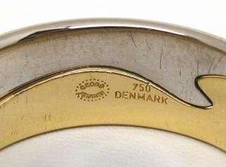 DESIGNER GEORG JENSEN 18K WHITE & YELLOW GOLD FUSION INTERLOCING RINGS