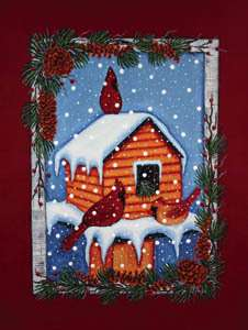 CABIN FEEDER CARDINALS IN SNOW LARGE FLAG 9680