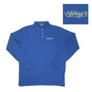 Blue Jays MLB Classic Pique Long Sleeve Polo Shirt (Dark Royal