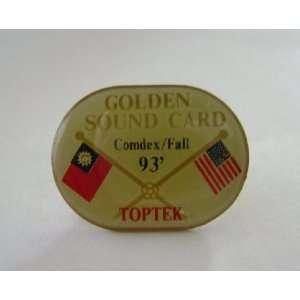 Golden Sound Card Fall 93 Button Pin Badge Office