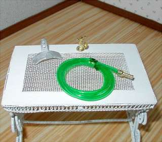 Dollhouse Miniature Furniture ~ Garden Hose With Hose Hanger/Water