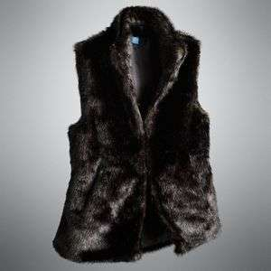 wANG VEST/TOP Black Faux Fur /Hook Eye Closure Rtl. $98 CUTE