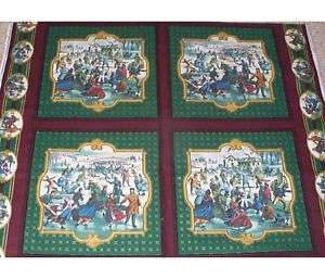 Currier & Ives Ice Skating Rink Pillow Panels Fabric