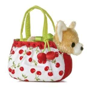 GIRLS CHERRY HAND BAG PET CARRIER PURSE PLUSH DOG WHITE