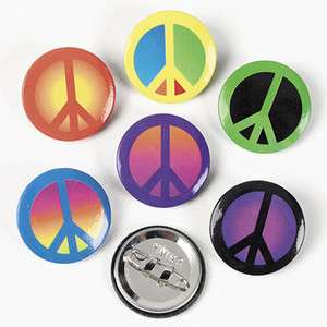 24 Peace Sign Button Pins Hippie Retro Wholesale Party Favors Vending