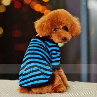 Pet Dog Apparel Clothes Striped T Shirt gray/blue/red S M L XL