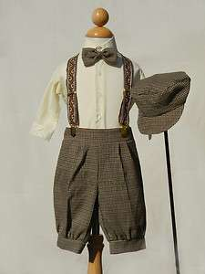 NEW BABY INFANT BOYS BROWN KNICKERS VINTAGE SUIT SET OUTFIT EASTER