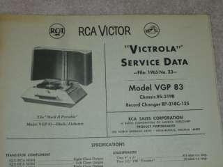 RCA 1965 Record Player Victrola VGP 80 SERVICE MANUAL