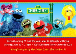 Sesame Street Elmo Birthday Invitation