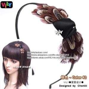 VILY Fascinator Feather Hair Headband Tiny Bow Maque