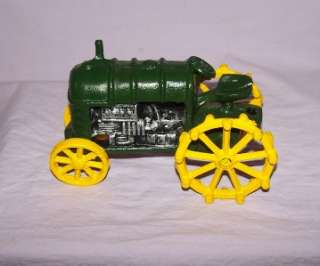 Vintage Cast Iron Green/Yellow Tractor Toy/Door Stopper