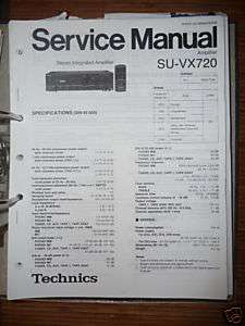 Service Manual Technics SU VX720 Amplifier,ORIGINAL