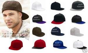 FLEXFIT Flatbill Blank Fitted Flat Bill Cap Hat 6210FF NEW Yupoong