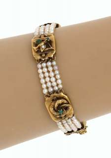 ANTIQUE 14K GEMS MULTI STRAND PEARL BRACELET RING SET