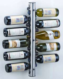 WALL MOUNTED STAINLESS STEEL WINE RACK 12 BOTTLE TUBE in UK