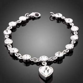 Swarovski Crystal Heart White Gold GP Bracelet Chain