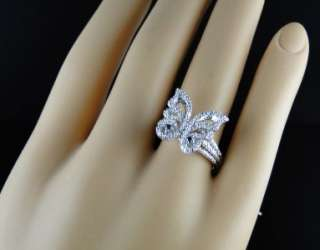 GOLD FINISH LADIES WOMENS XL BLUE/WHITE DIAMOND BUTTERFLY FASHION RING