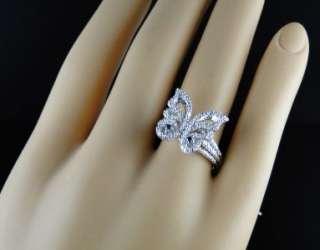 GOLD FINISH LADIES WOMENS XL BLUE/WHITE DIAMOND BUTTERFLY FASHION RING