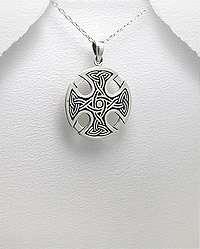 Round Silver Celtic Knot Irish Cross Pendant Necklace