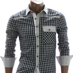 Doublju Mens Casual Plaid Button Down Shirt GREEN(AT125
