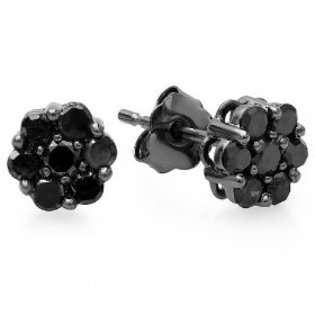 Diamond Delight 14k White Gold Cluster BLACK Diamond Earrings Studs