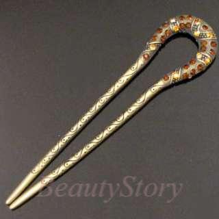1pc Austrian rhinestone crystal Antiqeud hair fork Gift