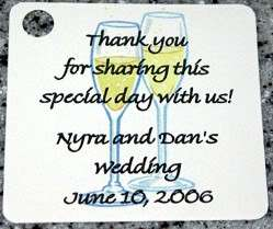 15 CHAMPAGNE GLASSES WEDDING / BRIDAL SHOWER FAVOR TAGS