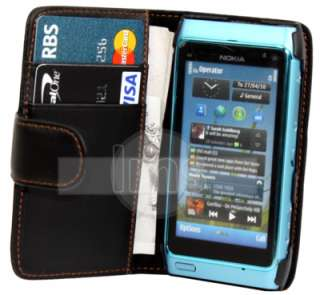 BLACK WALLET LEATHER CASE COVER & 6X FILM FOR NOKIA N8