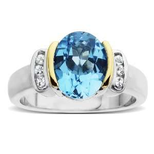 14k Yellow Gold Oval Blue Topaz and White Topaz Ring, Size 9 Jewelry