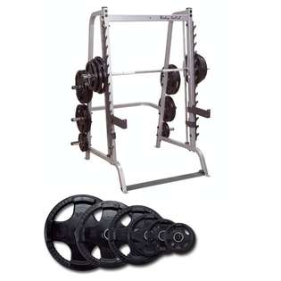 Body Solid Series 7 Smith Machine with 255 lb Rubber Olympic Set at