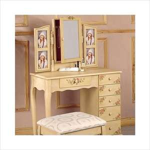 Makeup Vanity Table Set with Mirror Jewelry Armoire in Ivory