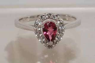 60CT PEAR CUT PINK TOURMALINE & WHITE TOPAZ RING STERLING SILVER