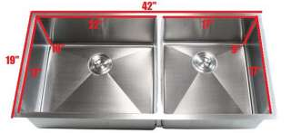 Radius 60/40 Double Bowl Stainless Steel Square Kitchen Sink