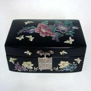 Korean Lacquer Wooden Jewelry Treasure Trinket Small Box Chest