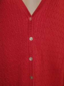 LANDS END Womens 2X 20W 22W Coral Pink Cable Thin Knit Cardigan