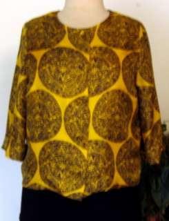 Vintage 40s Stunning BLACK & GOLD SILK Jacket Sz~LARGE