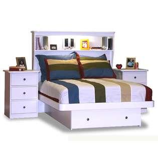 Berg Furniture Full Platform Bed with Storage Drawer Bookcase