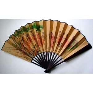 Chinese Art Painting Calligraphy Bamboo Fan Beauty
