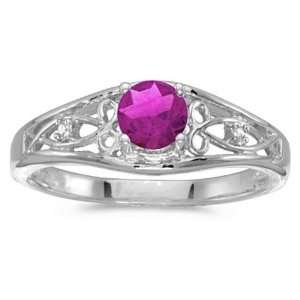 14k White Gold Round Pink Topaz Birthstone And Diamond Ring Jewelry