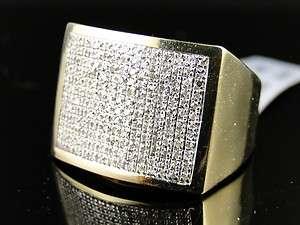 NEW MEN 10K YELLOW GOLD ROUND CUT PAVE DIAMOND XL PINKY FASHION RING 3