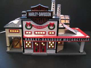 56 Snow Village Harley Davidson Manufacturing Set of 3 Mint Retired