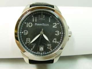 PERRY ELLIS CLASSIC BLACK GENUINE LEATHER MENS WATCH
