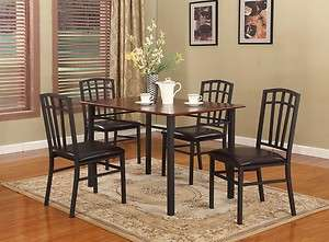 / Walnut Finish Wood & Metal Dining Room Kitchen Table and 4 Chairs