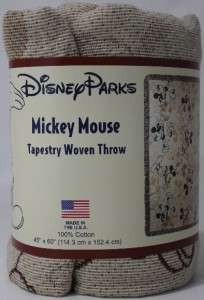 DISNEY PARKS EXCLUSIVE MICKEY MOUSE TAPESTRY WOVEN THROW (45 X 60