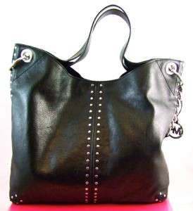 NWT MICHAEL Michael Kors Astor Large Black Leather Chain Shoulder Tote