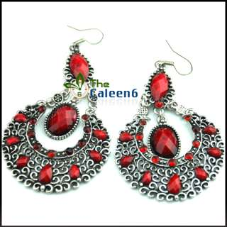 New Crystal Unique Retro Bronze Pierced Earrings Red