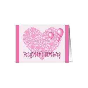 Daughters Birthday, Pink hearts, balloons & hearts Card Toys & Games