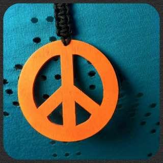 Blue Orange Yellow Green Peace Sign Pendant Necklace